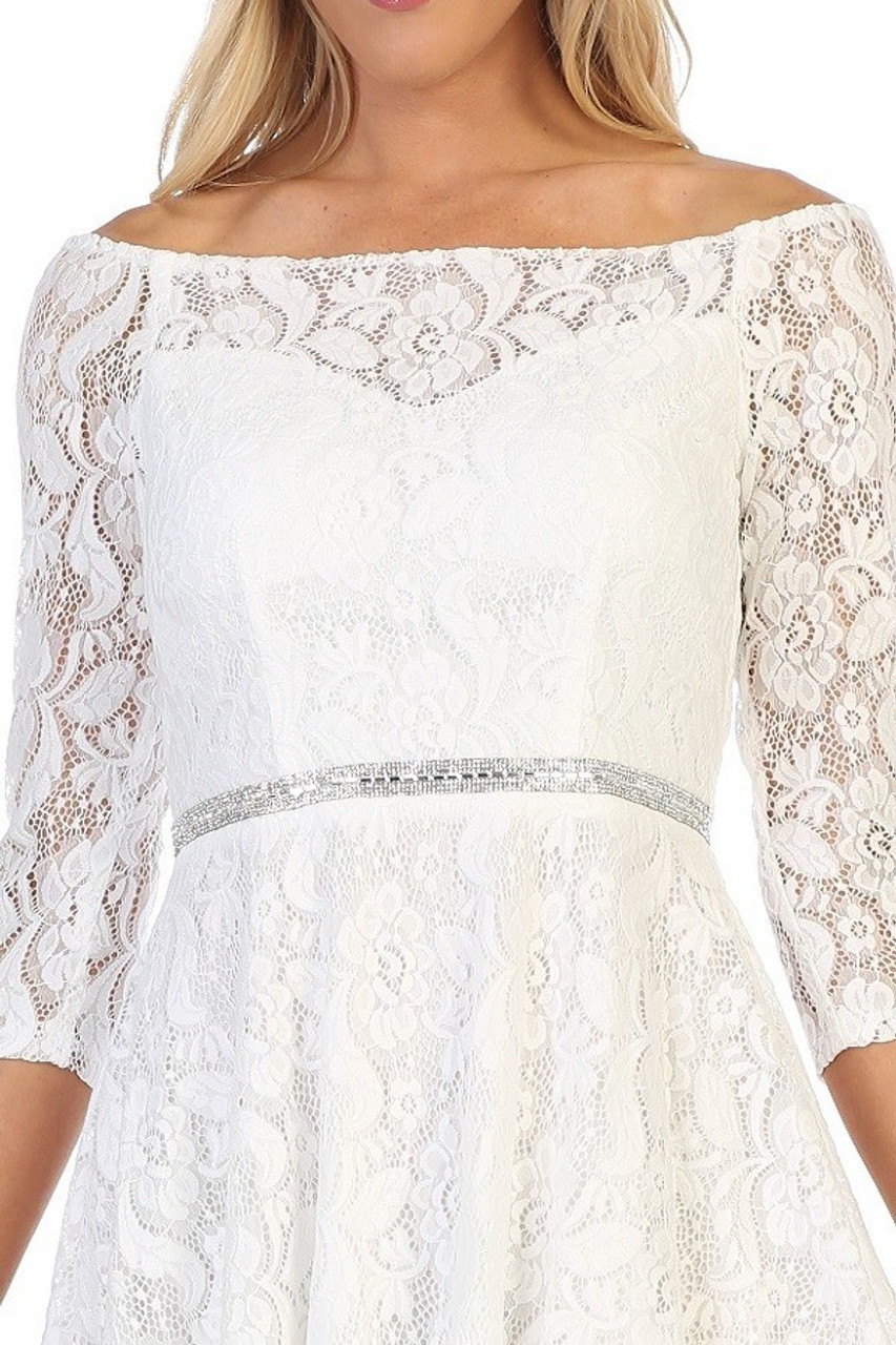 Celavie 6343-S Off Shoulder Long Sleeve Mid-length Dress
