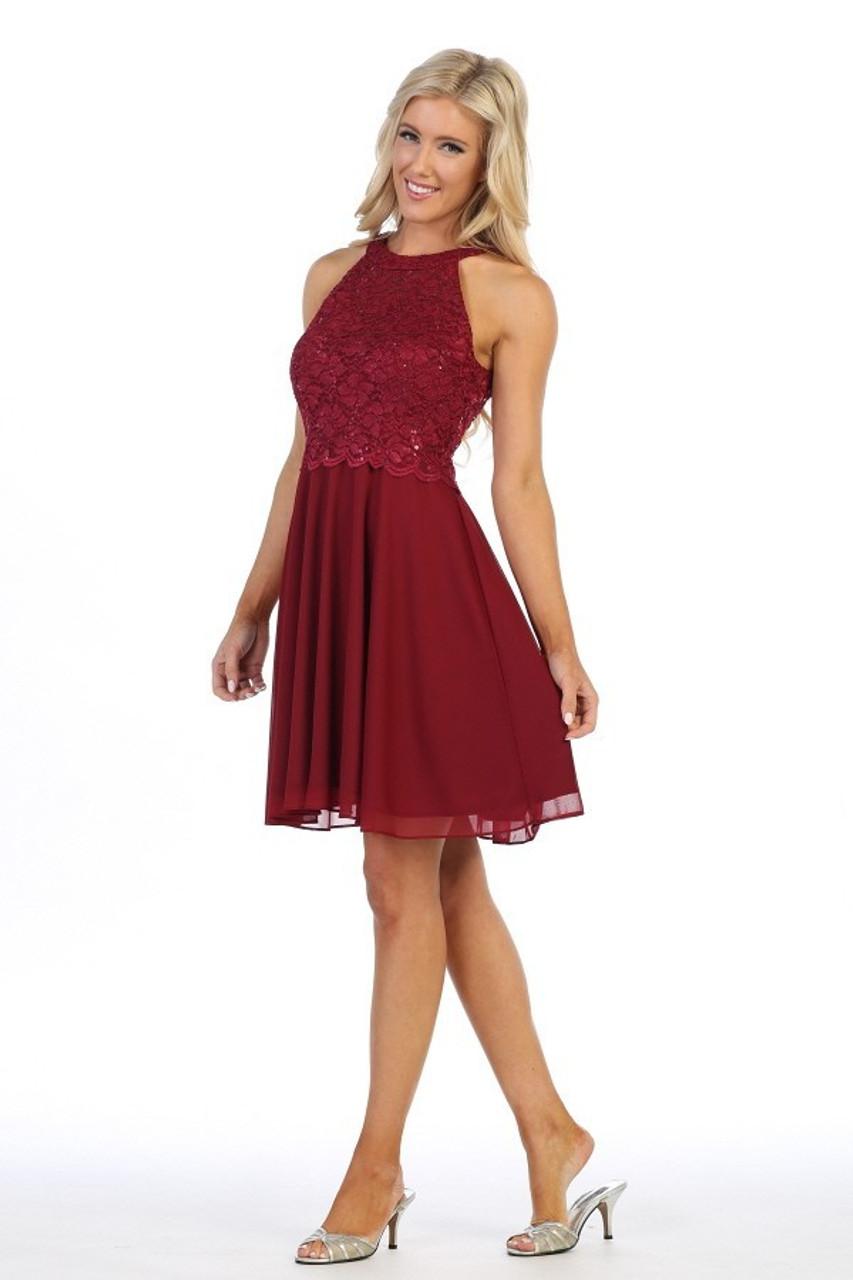 Celavie 6398 Embroidered Lace Bodice Short Halter Dress