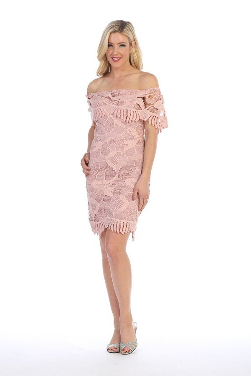 Celavie 8508 Off the Shoulder Short Flounce Lace Dress