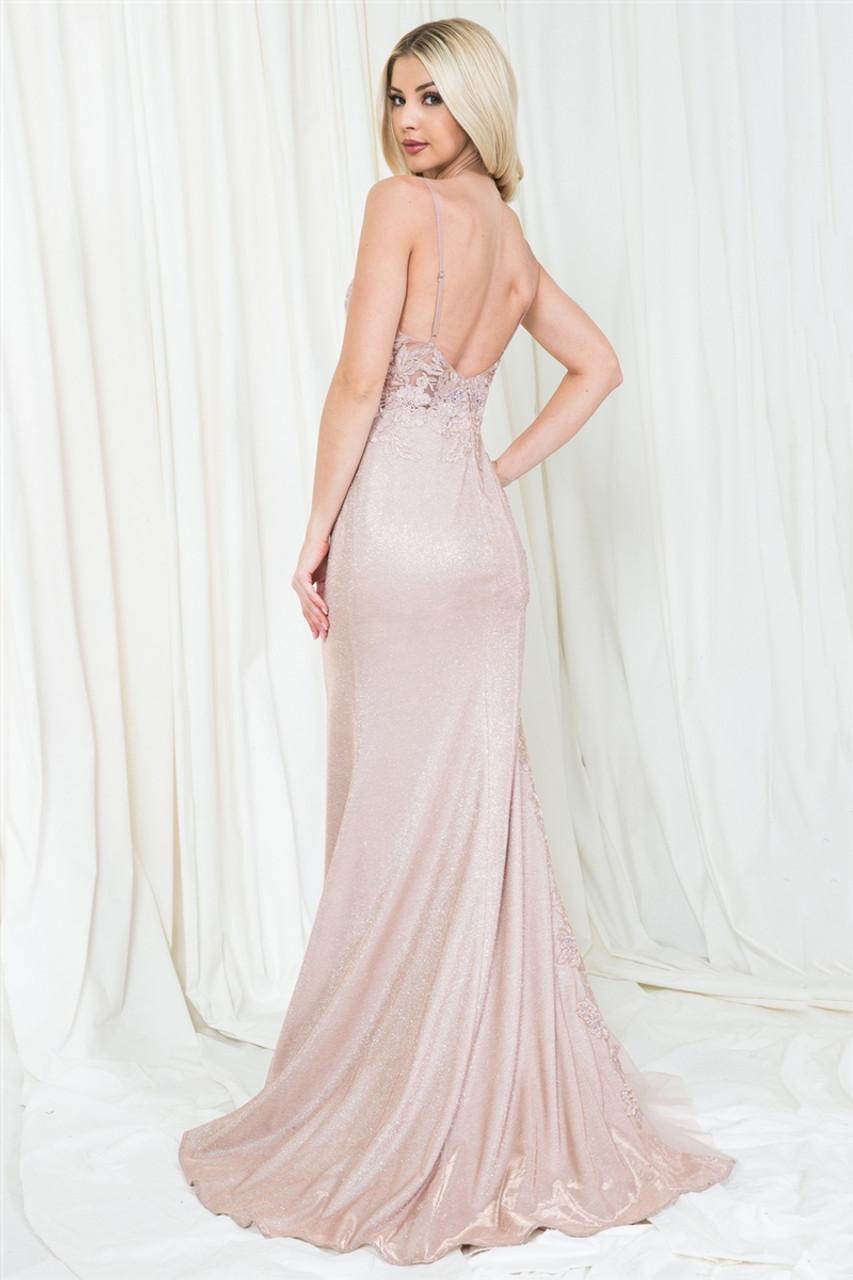 Amelia Couture 5018 Sleeveless V-Neckline Long Dress