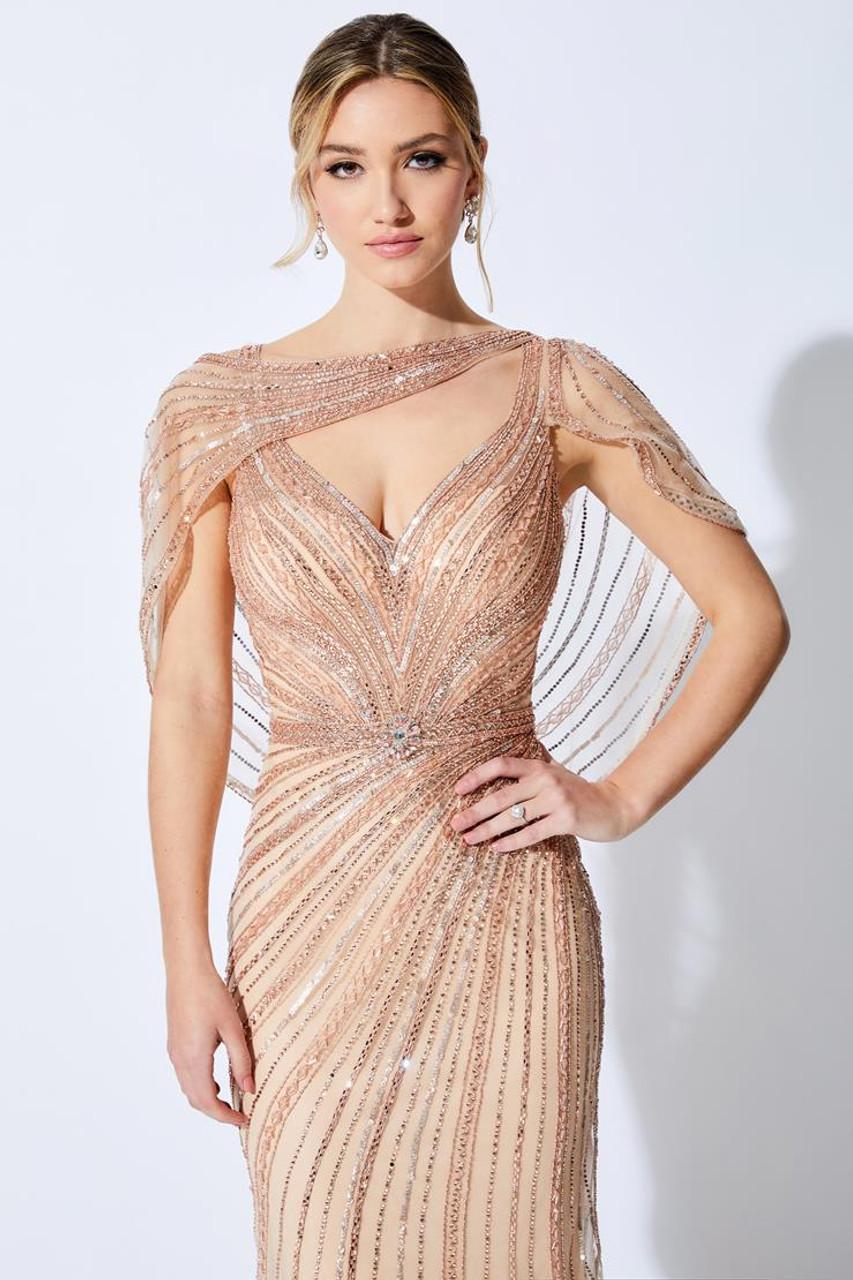 Ivonne D by Mon Cheri 221D47 V-Neck Cap Sleeve Beading Dress