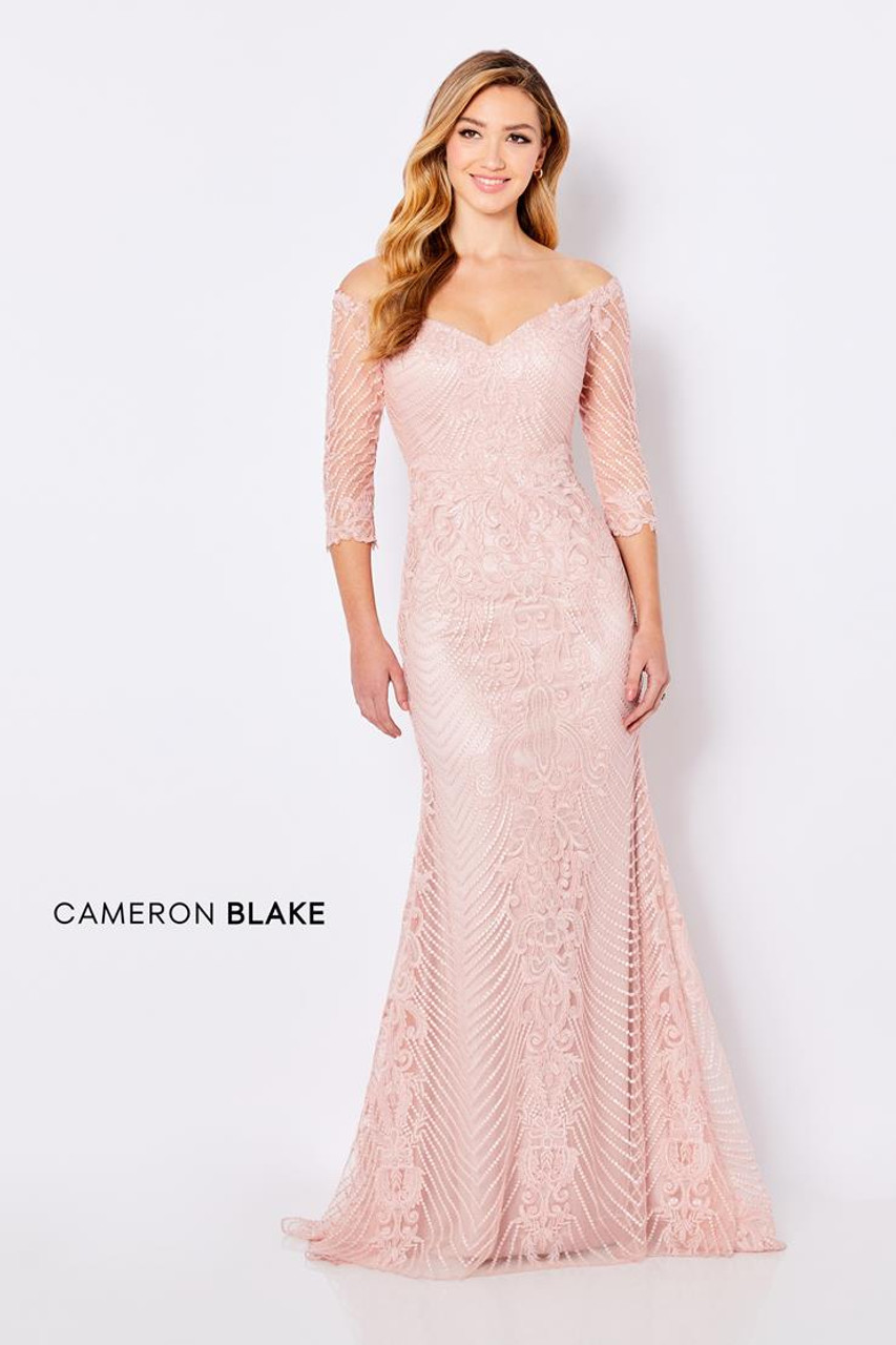 Cameron Blake by Mon Cheri 221688 Sleeves Corded Lace Gown