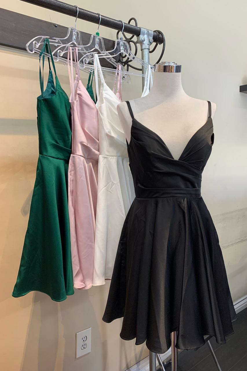 Amelia Couture BZ013S Deep V Neck Short Dress