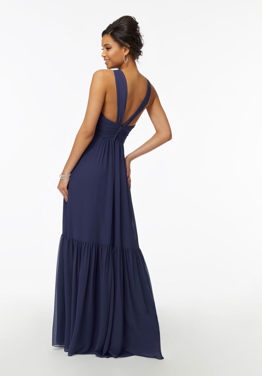 Morilee Bridesmaids 21728 Deep V-neck Ruched Chiffon Dress