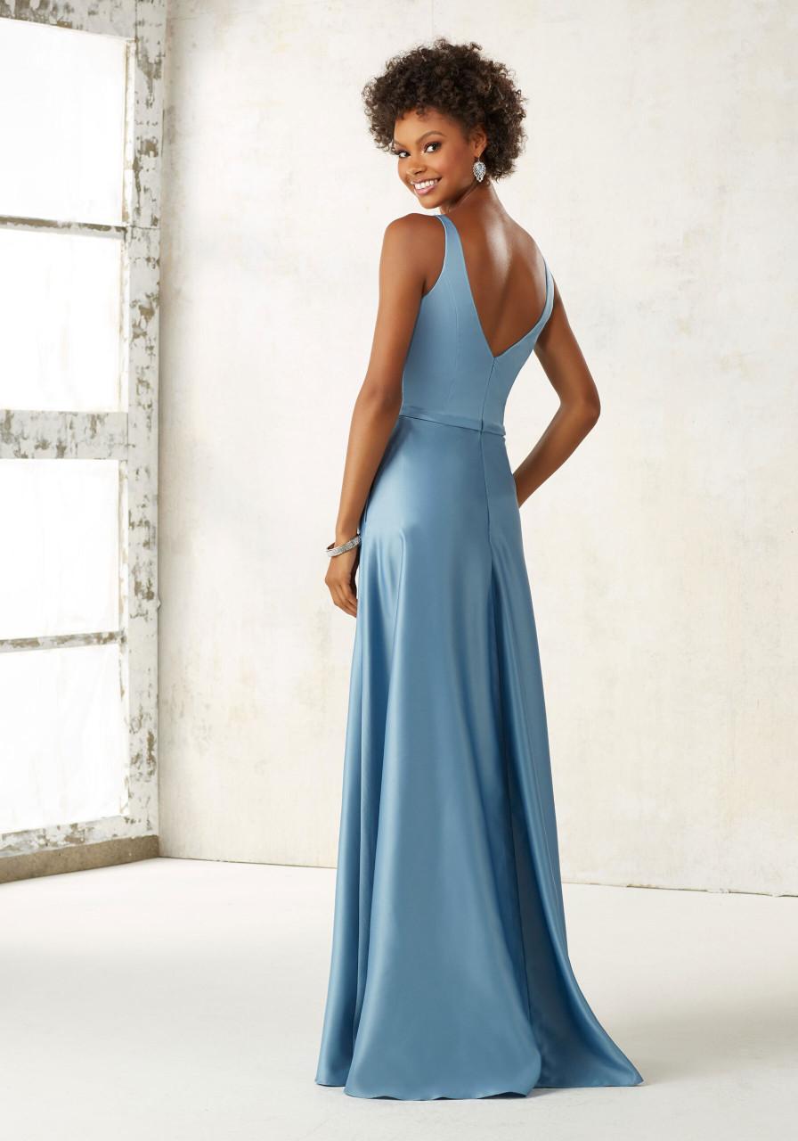Morilee Bridesmaids 21525 V-Neck Classic Satin A-Line Dress