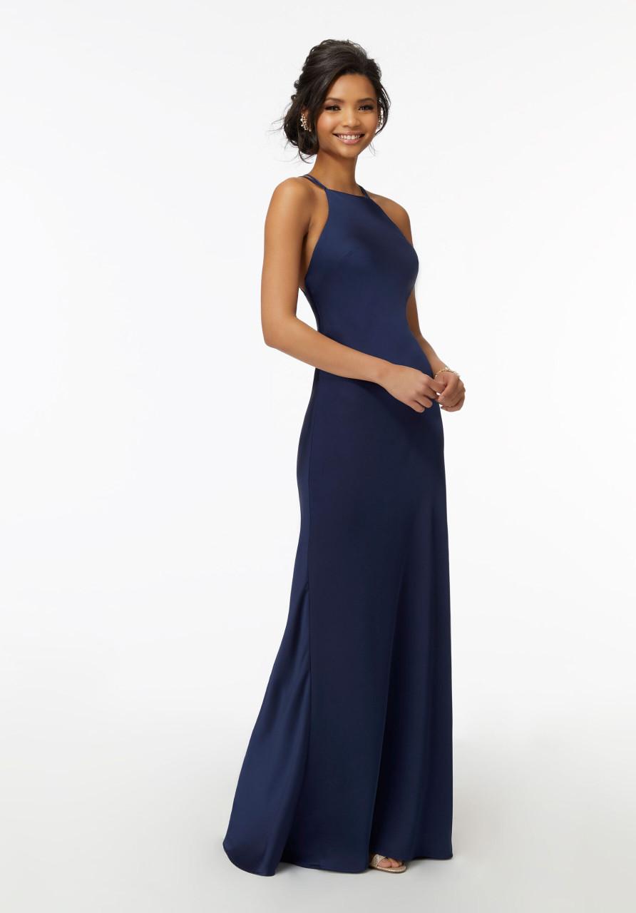 Morilee Bridesmaids 21729 High Neck Sleek Silky Satin Dress