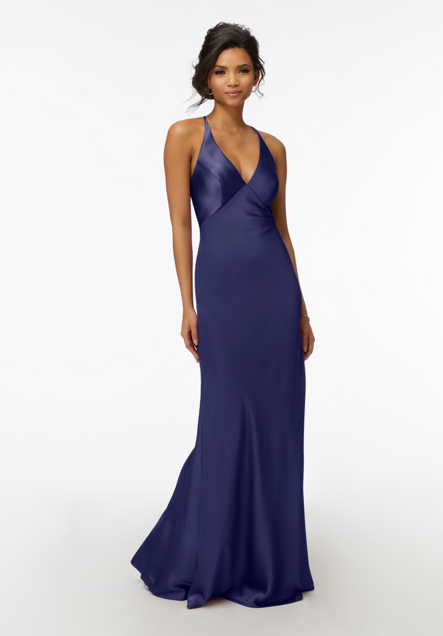Morilee Bridesmaids 21740 Cowl Back V-Neck Satin Dress
