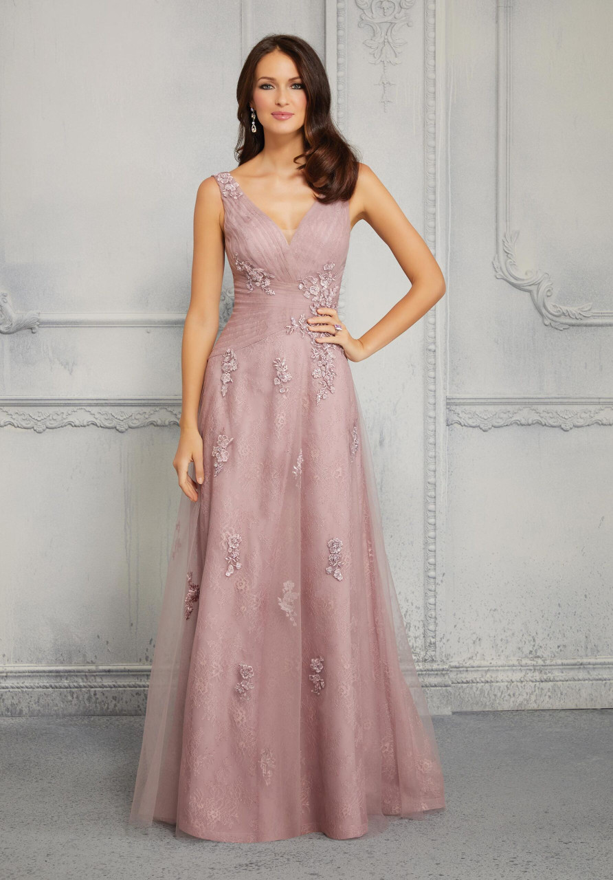 Morilee MGNY 72404 Beaded Chantilly Lace Evening Gown