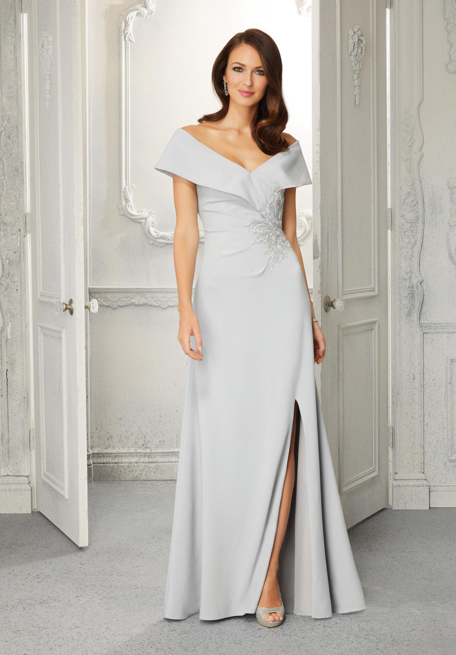 Morilee MGNY 72406 Off-Shoulder Neck Beaded Evening Gown