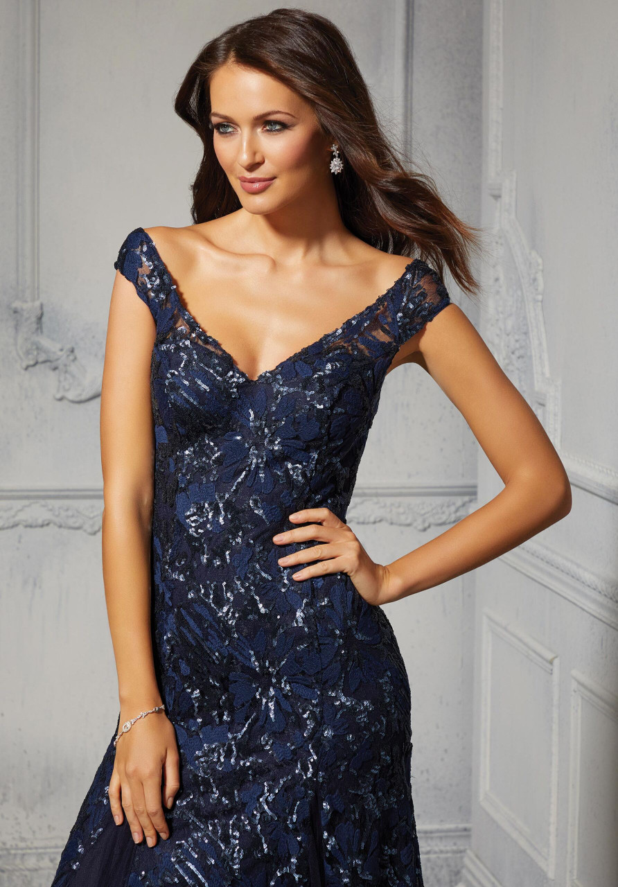 Morilee MGNY 72410 Allover Sequined Embroidery Evening Gown