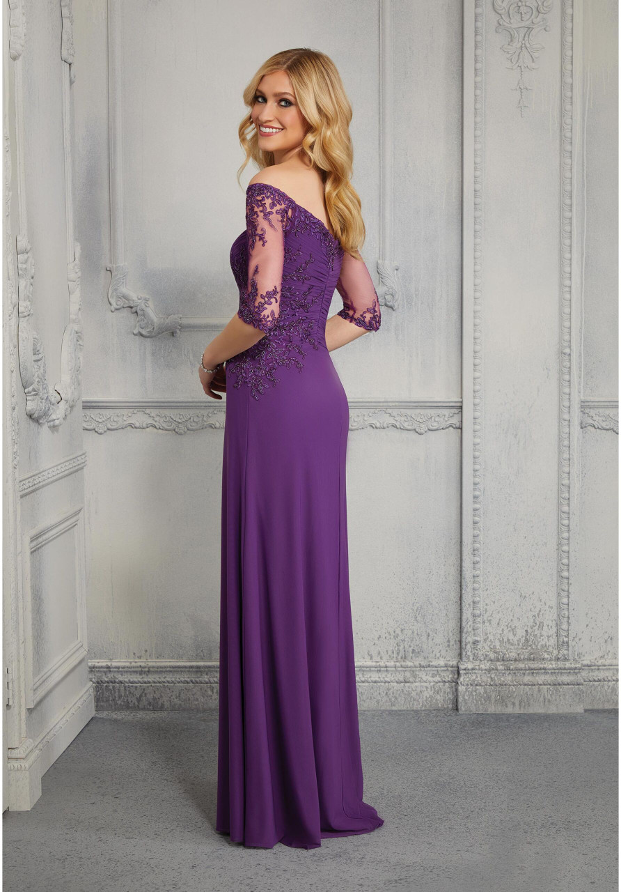 Morilee MGNY 72411 A-Line Draped Off Shoulder Evening Gown