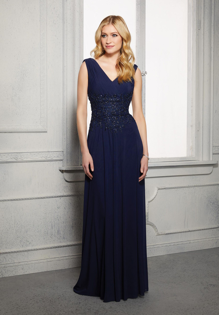 Morilee MGNY 72414 V-neck Beaded Embroidered Evening Gown