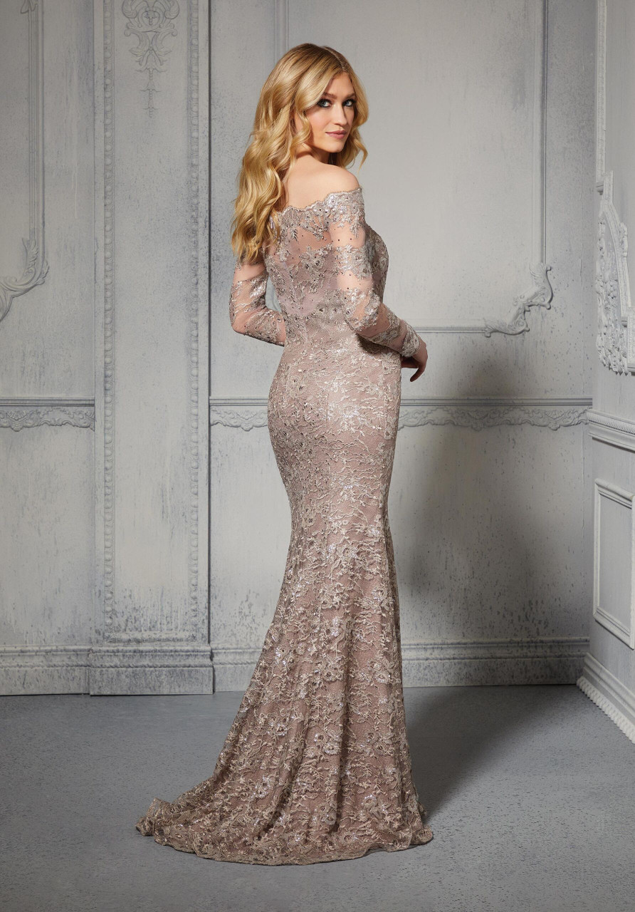 Morilee MGNY 72415 Beaded Off Shoulder Neck Evening Gown