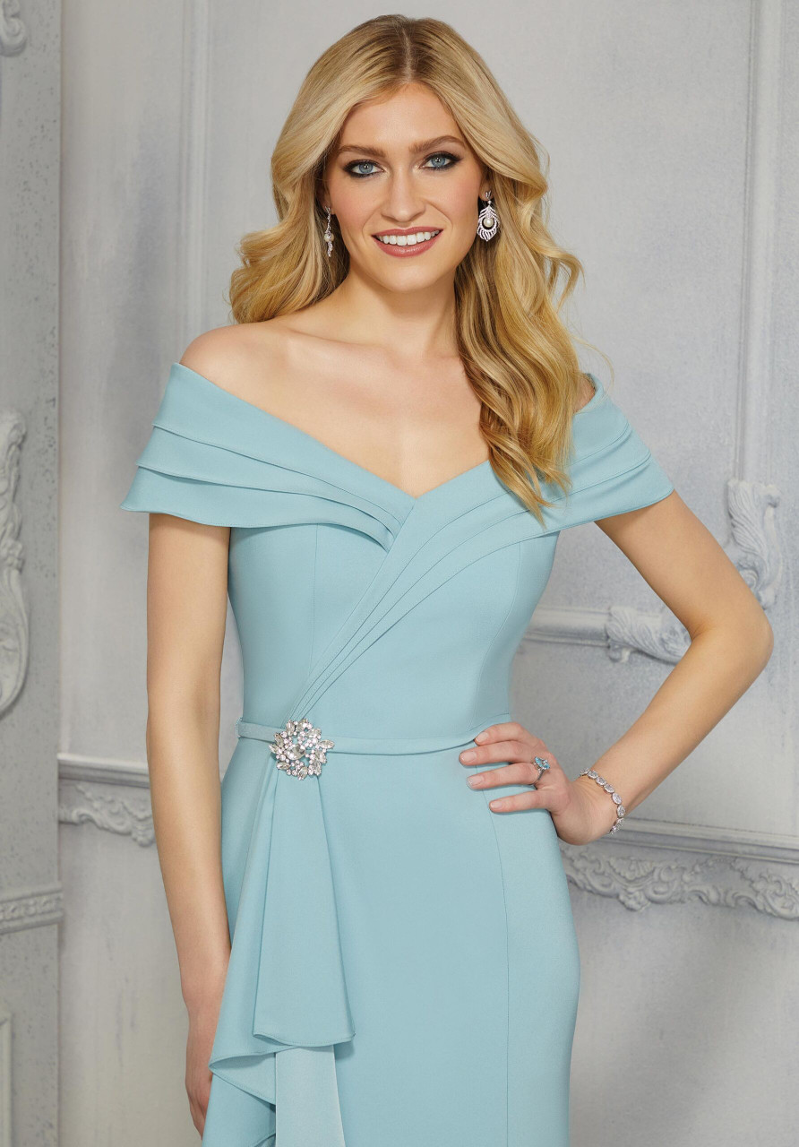 Morilee MGNY 72417 Crystal Beaded Broach Evening Gown