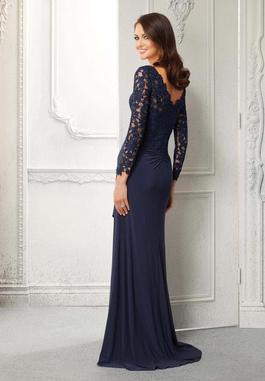 Morilee MGNY 72418 Sheer Long Sleeves Beaded Evening Gown