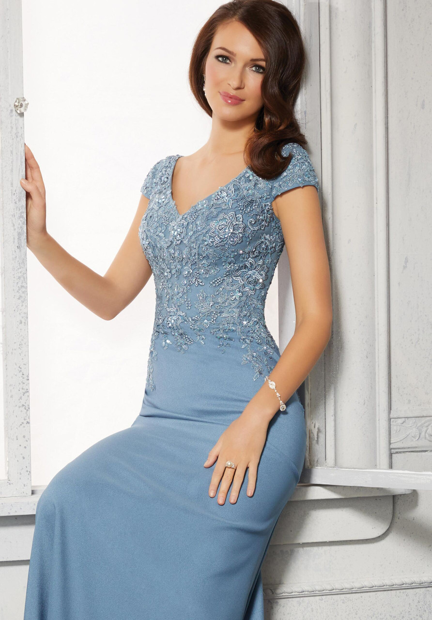 Morilee MGNY 72421 V-neck Crystal Beaded Evening Gown