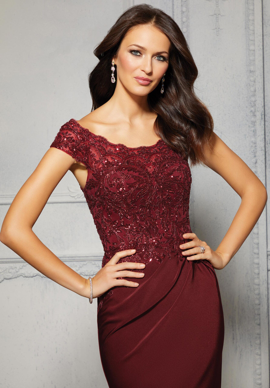Morilee MGNY 72425 Sheath Sequined Lace Evening Gown