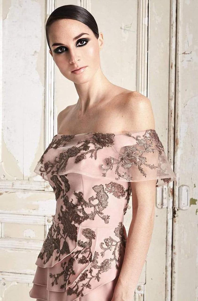 Alexander by Daymor 773 Embroidered Off Shoulder Dress