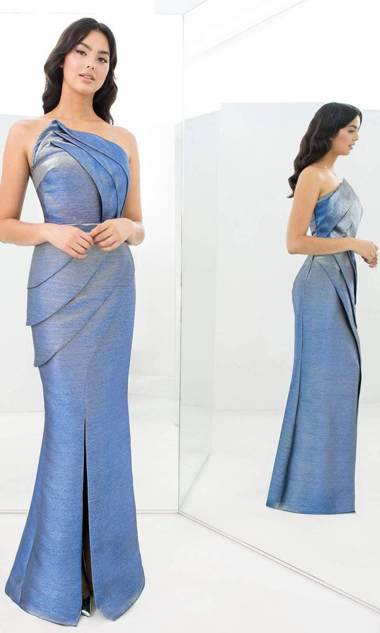 Alexander by Daymor 1355 High Slit Asymmetrical Neck Dress