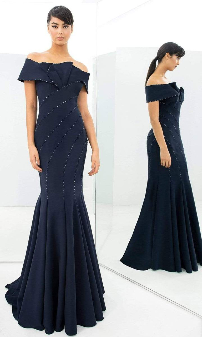Alexander by Daymor 1359 Off Shoulder Straight Across Gown