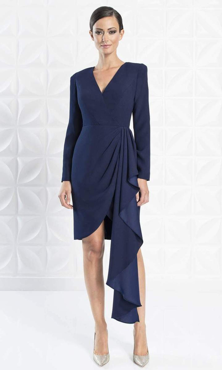 Alexander by Daymor 1251 Long Sleeve Ruffle Drape Dress