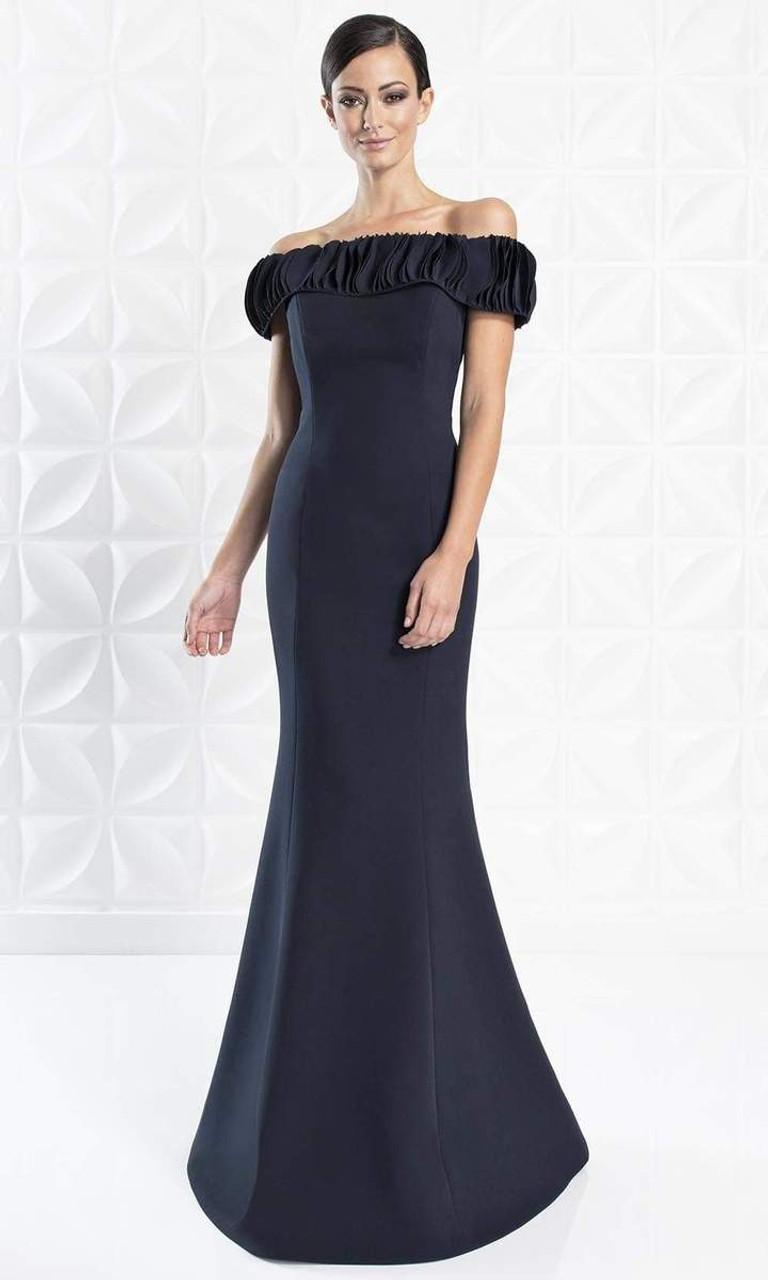 Alexander by Daymor 1280 Ruffled Off-shoulder Long Dress