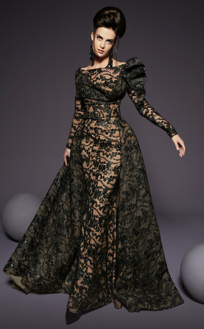 MNM Couture 2441 Embellished Illusion Bateau Dress