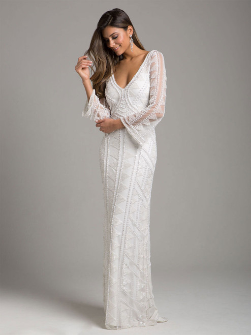 Lara 51001 Long Sleeve Beaded Ivory Gown