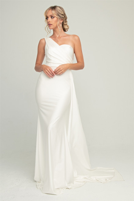 Amelia Couture 387 One Shoulder Satin Fitted Evening Dress