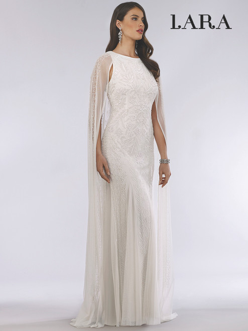 Lara 51045 Beaded Long Cape Ivory Dress