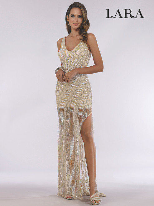 Lara 51048 Sheer Long Dress With Slit
