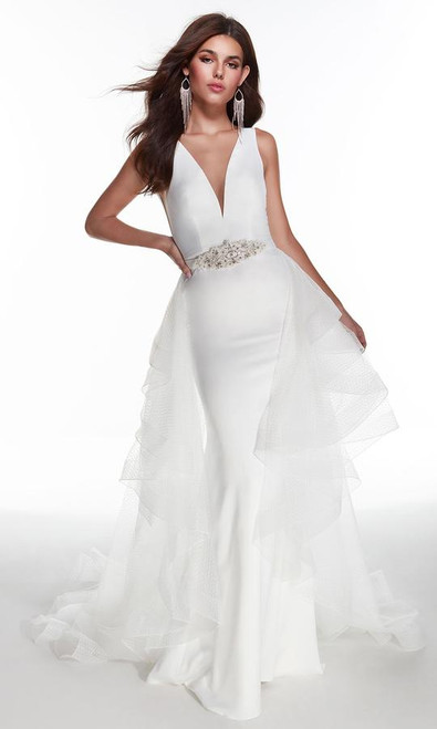 Alyce Paris 7019 Plunging Beaded Overskirt Bridal Gown