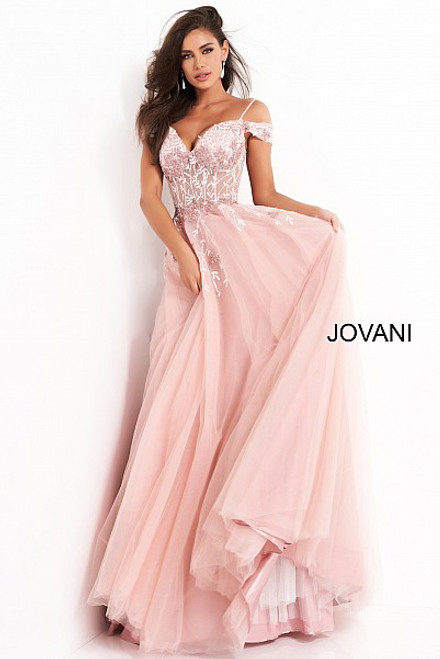 Jovani 02022 Off Shoulder Embellished Prom Dress