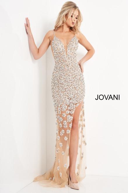 Jovani 02492 Beaded High Slit Prom Dress
