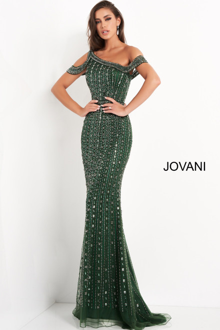 Jovani 03124 Beaded One Shoulder Evening Dress