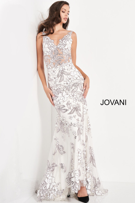 Jovani 04332 Embellished V Neck Evening Dress