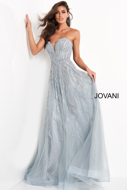 Jovani 04633 Beaded Plunging Neckline Evening Dress