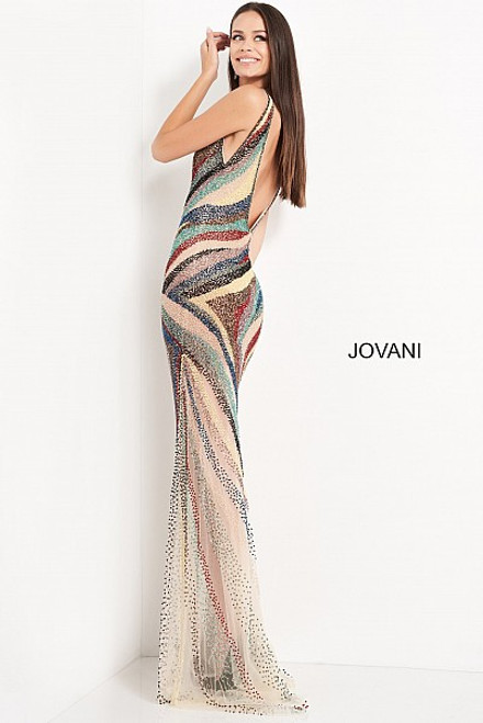 Jovani 05560 Beaded V Neck Evening Dress