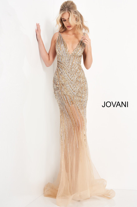 Jovani 1162 Beaded Plunging Neckline Prom Dress