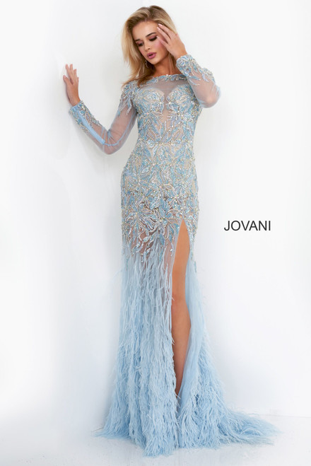 Jovani 37580 Embellished Long Sleeve Pageant Dress