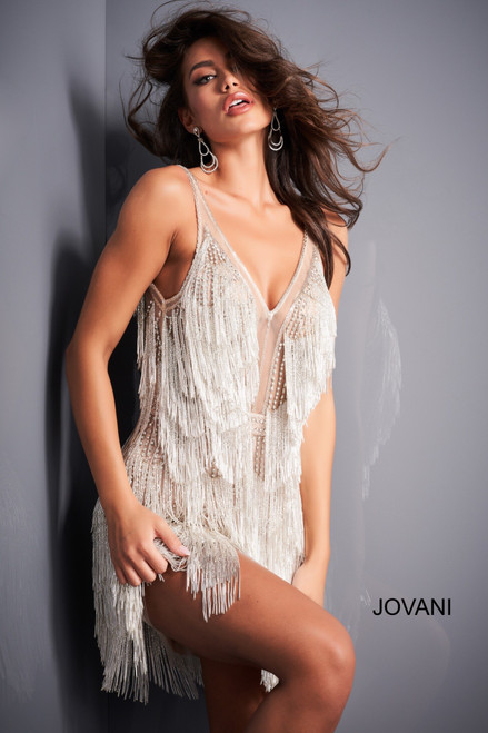 Jovani 4001 V Neck Silver Fringe Cocktail Dress