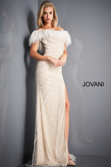 Jovani 4770 High Slit Beaded Evening Dress