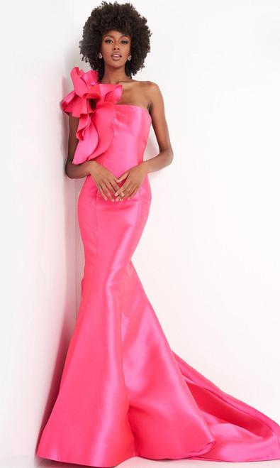 Jovani Prom JVN00650 Oversized Floral Detail One Shoulder Gown