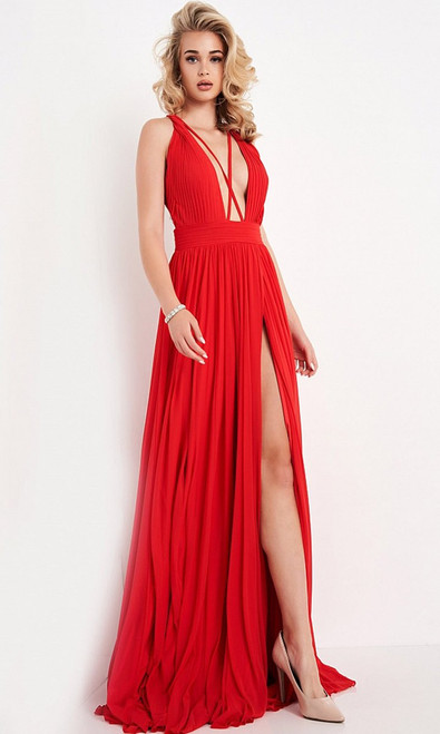 Jovani Prom JVN01022 Deep V Neck A-Line Gown With Slit