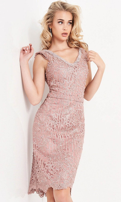Jovani Prom JVN02246 Beaded Lace V Neck Cocktail Dress