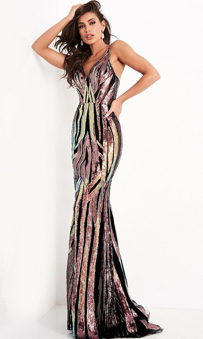 Jovani Prom JVN04549 Sequined Sheath Long Gown