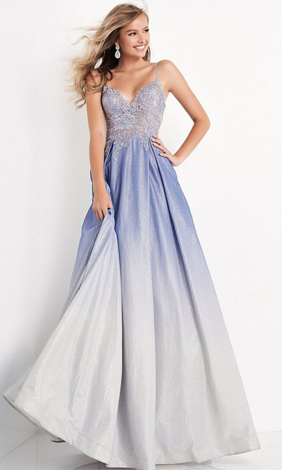 Jovani Prom JVN04565 Embroidered Plunging V Neck A-Line Gown