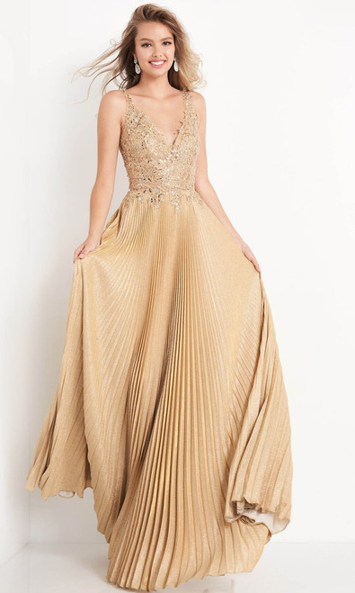Jovani Prom JVN04568 Lace Applique Pleated A-Line Gown