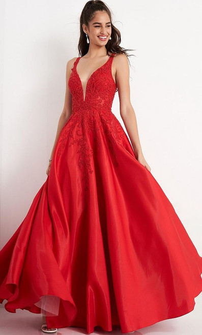 Jovani Prom JVN04590 Embroidered Bodice Plunging Neck Prom Ballgown