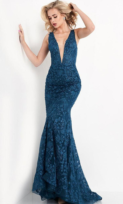Jovani Prom JVN04591 Illusion Plunging V-Neckline Floral Embroidered Gown